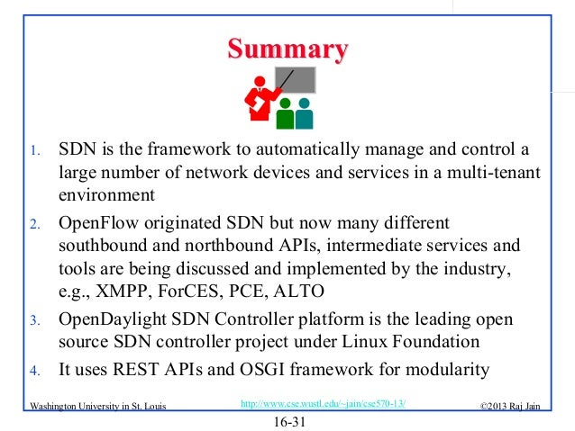 Summary  1.  2.  3. 4.  SDN is the framework to automatically manage and control a large number of network devices and ser...