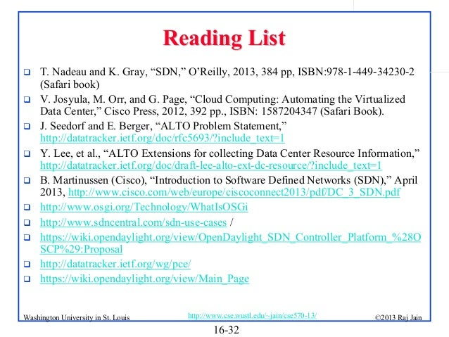 """Reading List            T. Nadeau and K. Gray, """"SDN,"""" O'Reilly, 2013, 384 pp, ISBN:978-1-449-34230-2 (Safari boo..."""