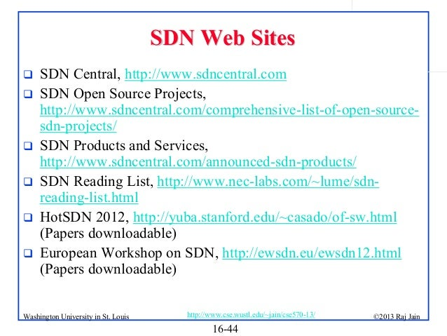 SDN Web Sites         SDN Central, http://www.sdncentral.com SDN Open Source Projects, http://www.sdncentral.com/com...