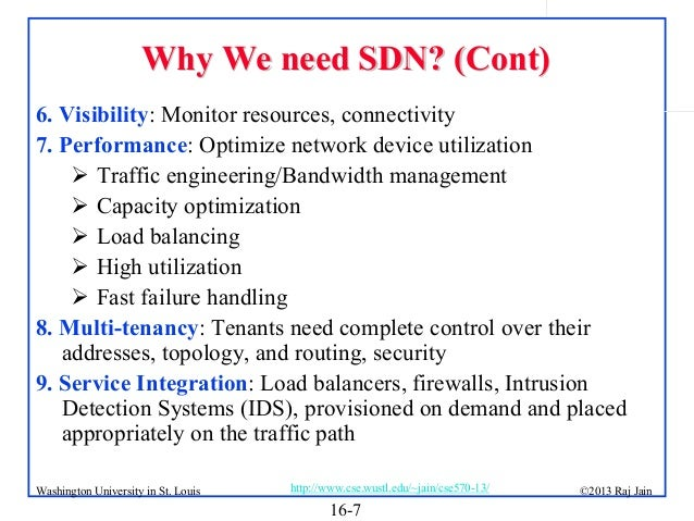 Why We need SDN? (Cont) 6. Visibility: Monitor resources, connectivity 7. Performance: Optimize network device utilization...