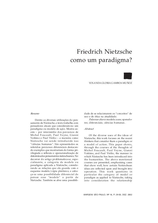 DOSSIÊ: CONSCIÊNCIAS DO MUNDO — FRIEDRICH NIETZSCHE        29                                     Friedrich Nietzsche     ...