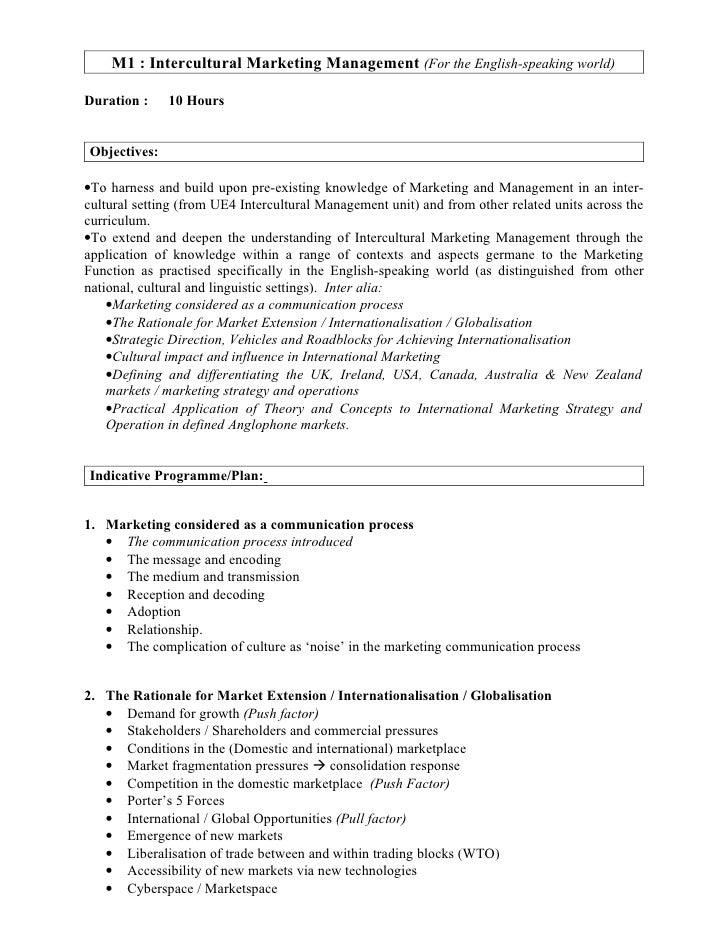 M1 : Intercultural Marketing Management (For the English-speaking world)  Duration :    10 Hours   Objectives:  •To harnes...