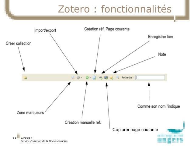 23/10/14  Service Commun de la Documentation  12  10  8  6  4  2  51  Zotero : fonctionnalités  1 ligne 2 ligne 3 ligne 4 ...