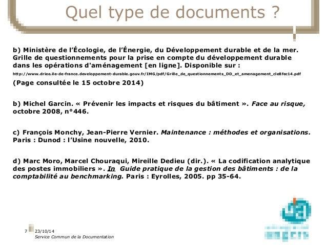 23/10/14  Service Commun de la Documentation  7  Quel type de documents ?  b) Ministère de l'Écologie, de l'Énergie, du Dé...
