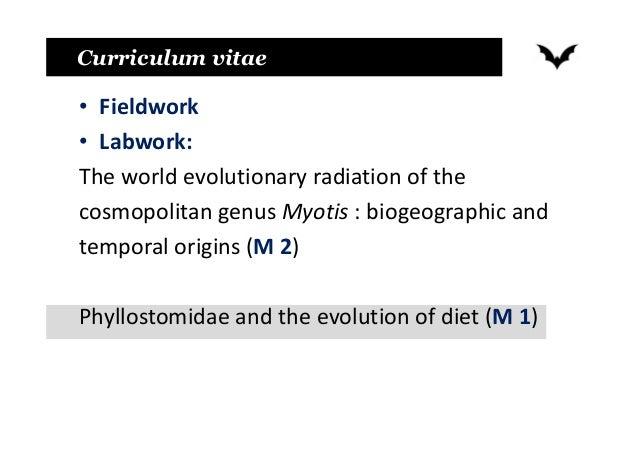 Curriculum vitae • Fieldwork • Labwork: The world evolutionary radiation of the cosmopolitan genus Myotis : biogeographic ...