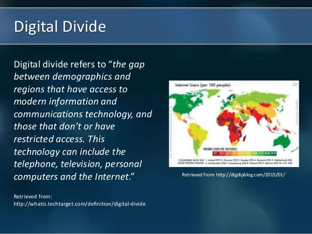 how the digital divide affects cyberbullying The digital divide is a term that refers to the gap between populations that have access to modern information and communication technologies, and those that have restricted access or none at all technologies can include telephones, televisions, computers and the internet.