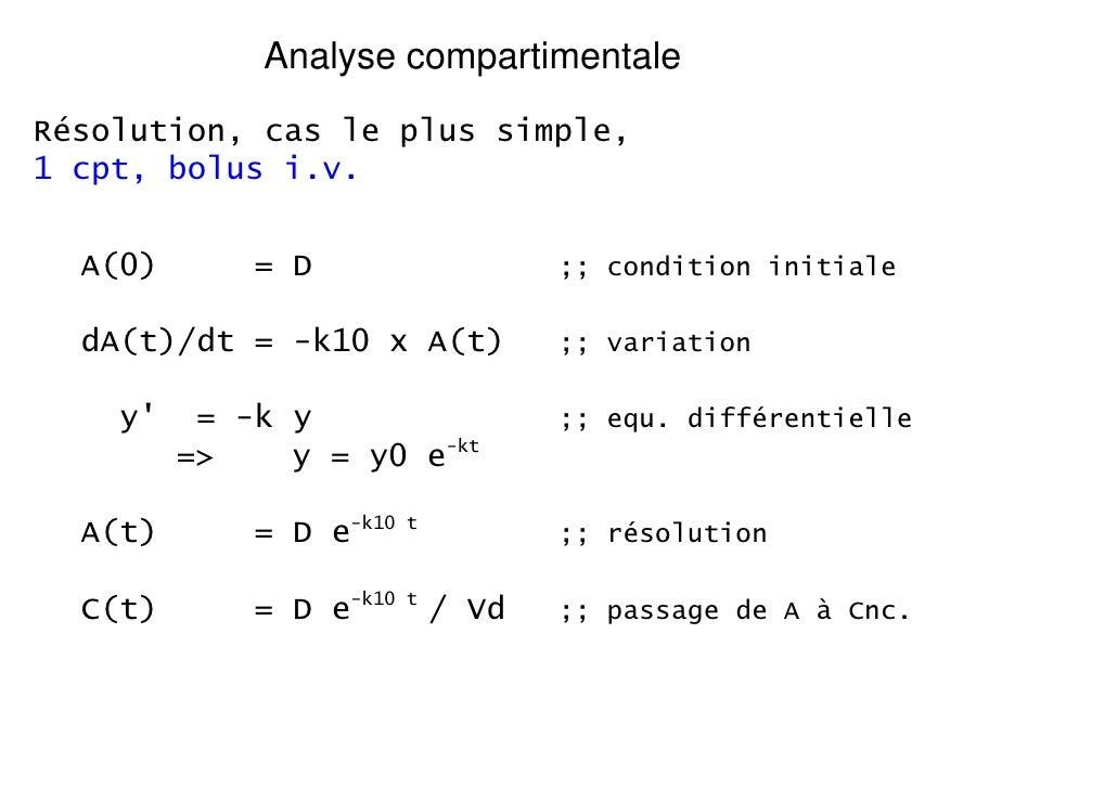 Analyse compartimentaleRésolution, cas le plus simple,1 cpt, bolus i.v.  A(0)       = D                    ;; condition in...