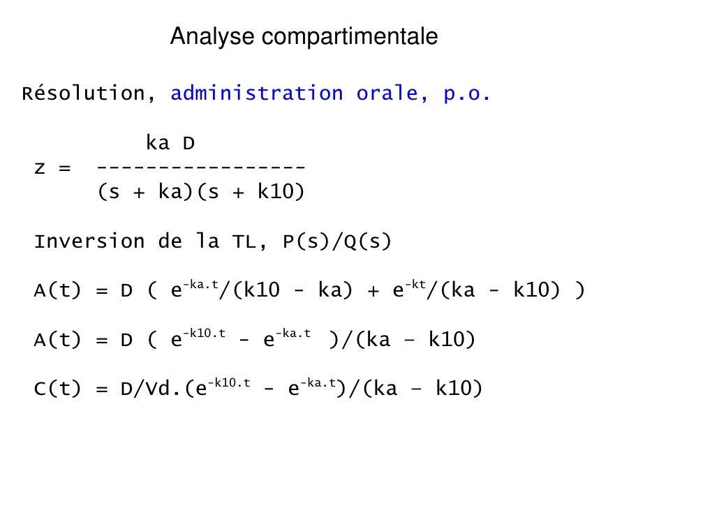 Analyse compartimentaleRésolution, administration orale, p.o.           ka D z =   -----------------       (s + ka)(s + k1...