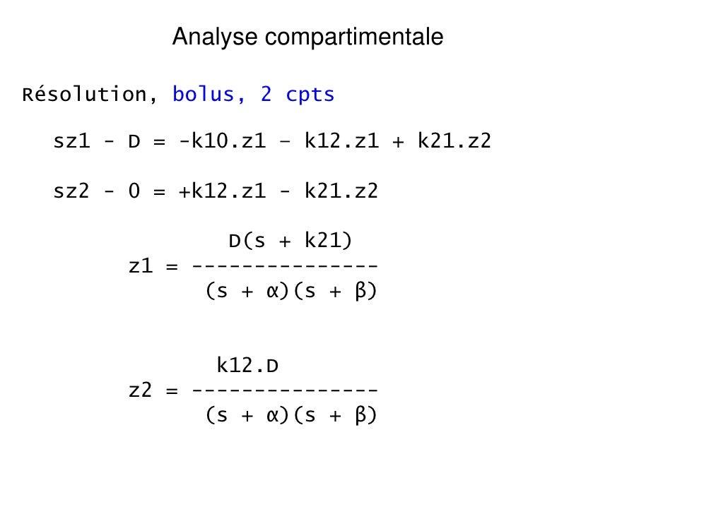 Analyse compartimentaleRésolution, bolus, 2 cpts  sz1 - D = -k10.z1 – k12.z1 + k21.z2  sz2 - 0 = +k12.z1 - k21.z2         ...