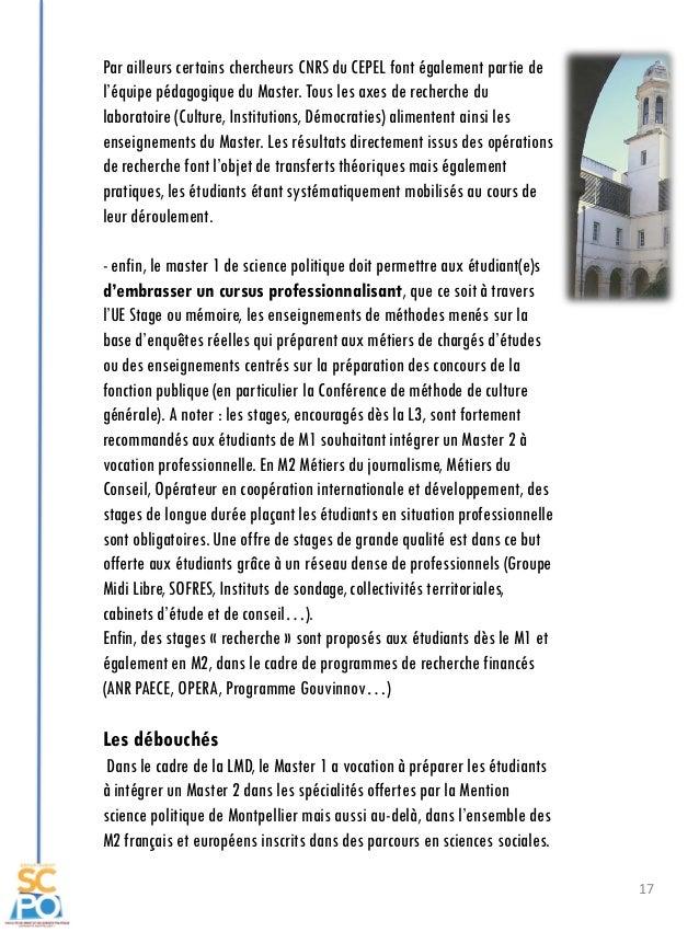 17 Par ailleurs certains chercheurs CNRS du CEPEL font également partie de l'équipe pédagogique du Master. Tous les axes d...