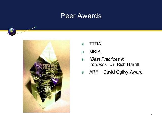 "Peer Awards 8  TTRA  MRIA  ""Best Practices in Tourism,"" Dr. Rich Harrill  ARF – David Ogilvy Award"