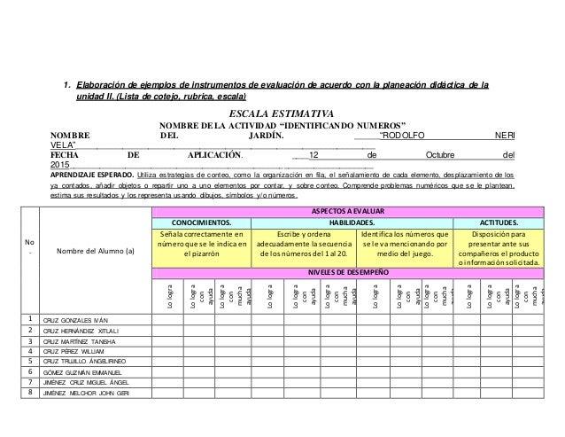 1. Elaboración de ejemplos de instrumentos de evaluación de acuerdo con la planeación didáctica de la unidad II. (Lista de...