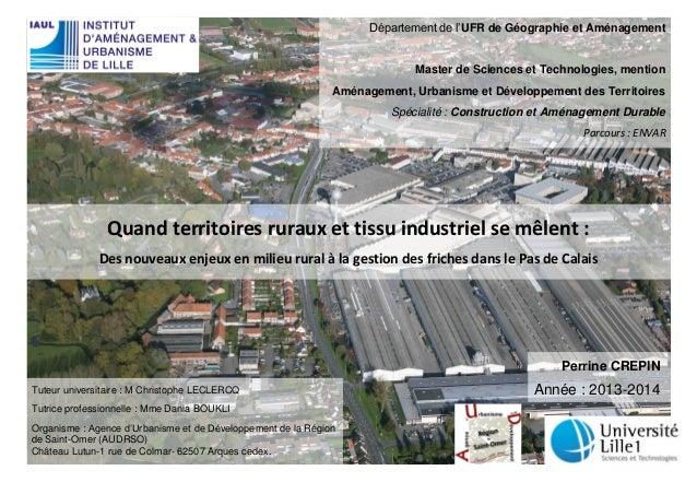Quand territoires ruraux et tissu industriel se mêlent :  Des nouveaux enjeux en milieu rural à la gestion des friches dan...