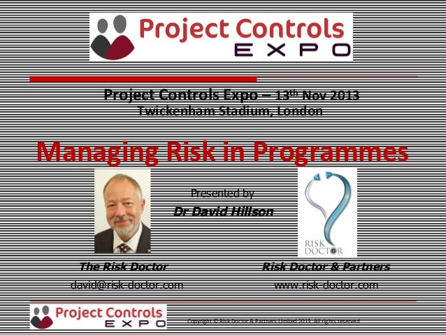david hillson managing risk in projects pdf