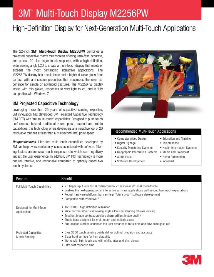 3M Multi-Touch Display M2256PW               ™     High-Definition Display for Next-Generation Multi-Touch Applications  T...