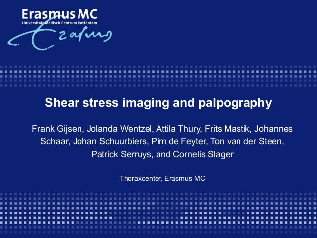 Shear stress imaging and palpography Frank Gijsen, Jolanda Wentzel, Attila Thury, Frits Mastik, Johannes Schaar, Johan Sch...