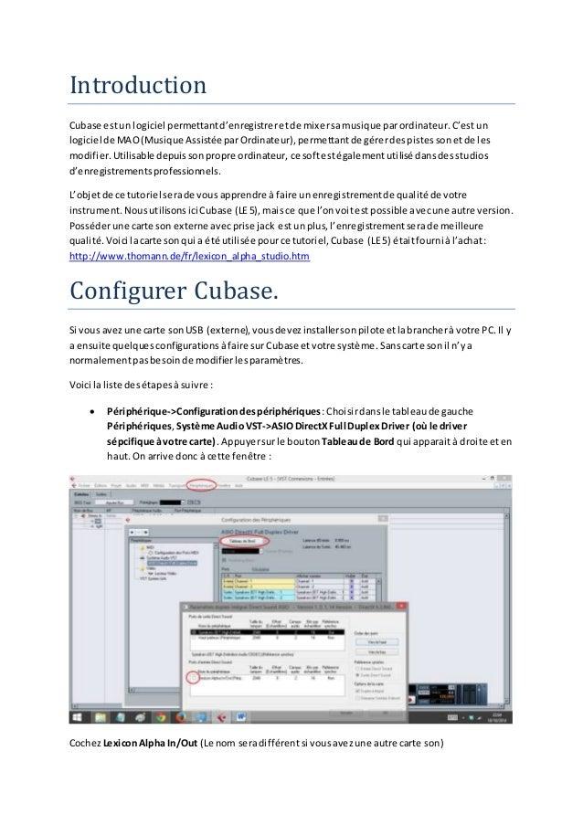 Introduction Cubase estun logiciel permettantd'enregistreretde mixersamusique parordinateur.C'est un logiciel de MAO(Musiq...