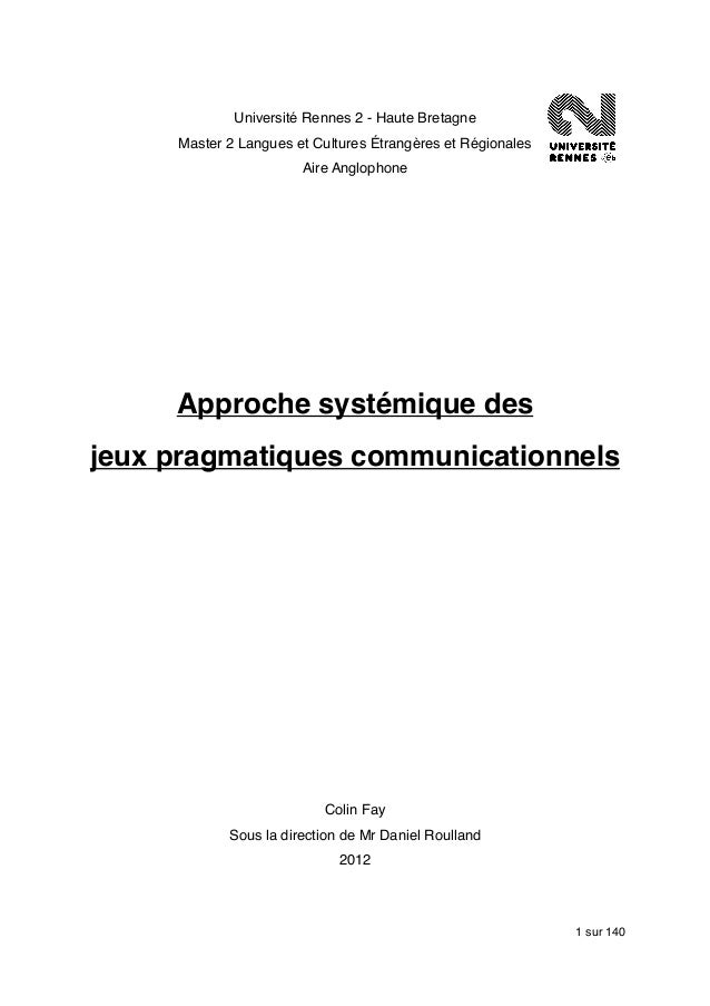 Université Rennes 2 - Haute Bretagne     Master 2 Langues et Cultures Étrangères et Régionales                       Aire ...