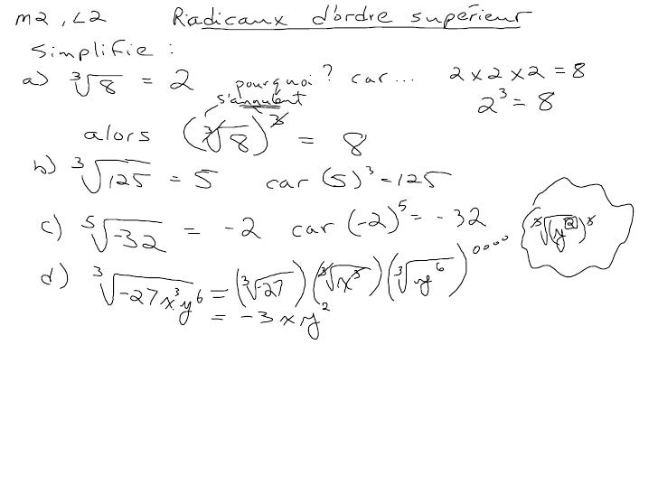 Module #2, Leçon #2:  Les radicaux d'ordre supérieur