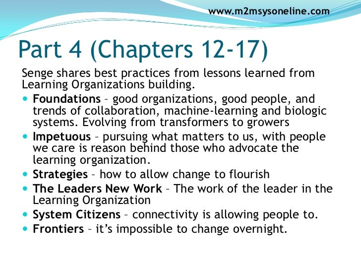the fifth discipline summary Senge identifies the fifth discipline of the learning organization (hence the name of the book) as systems thinking, which senge sees as the core learning .
