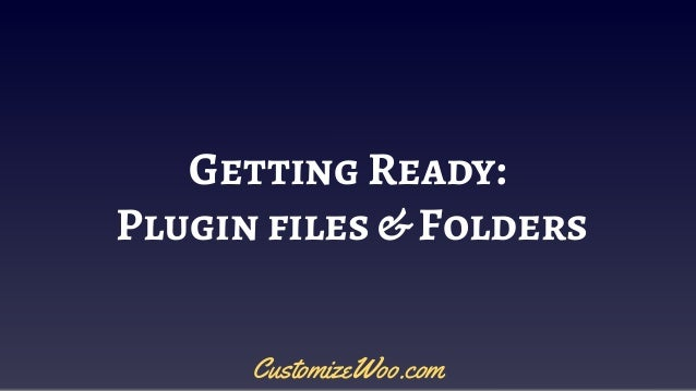Getting Ready: Plugin files & Folders CustomizeWoo.com
