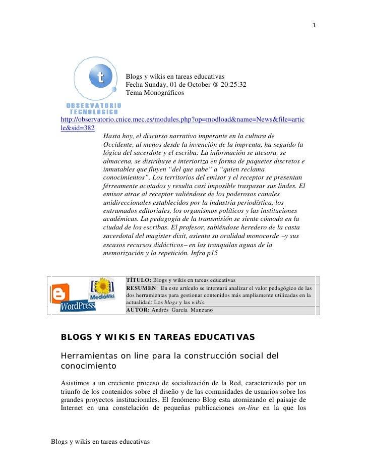 1                         Blogs y wikis en tareas educativas                         Fecha Sunday, 01 de October @ 20:25:3...