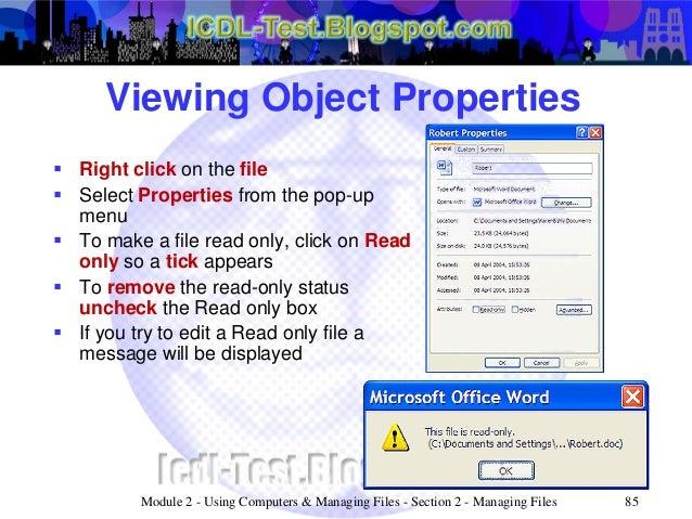 ecdl icdl module 2 using computers managing files windows xp