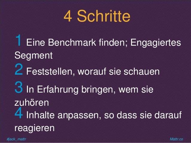 #jack_mattr Mattr.co 4 Schritte 1 Eine Benchmark finden; Engagiertes Segment 2 Feststellen, worauf sie schauen 3 In Erfahr...