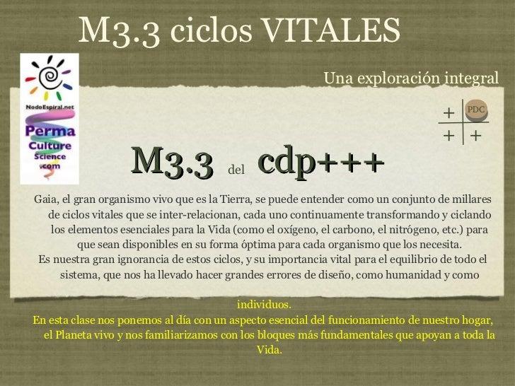 M3.3  cdp+++ <ul><li>Gaia, el gran organismo vivo que es la Tierra, se puede entender como un conjunto de millares de cicl...