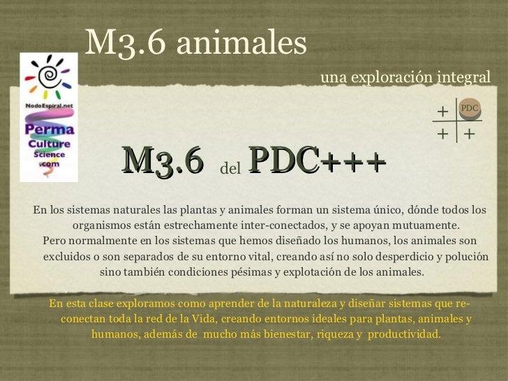 M3.6  PDC+++ <ul><li>En los sistemas naturales las plantas y animales forman un sistema único, dónde todos los organismos ...