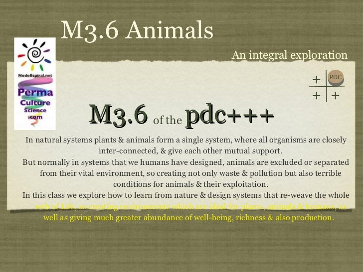 M3.6  pdc+++ <ul><li>In natural systems plants & animals form a single system, where all organisms are closely inter-conne...