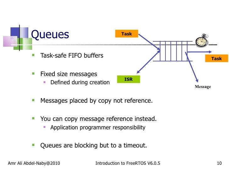 Queues  <ul><li>Task-safe FIFO buffers </li></ul><ul><li>Fixed size messages </li></ul><ul><ul><li>Defined during creation...