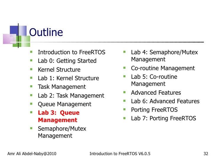 Outline <ul><li>Introduction to FreeRTOS </li></ul><ul><li>Lab 0: Getting Started </li></ul><ul><li>Kernel Structure </li>...