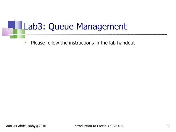 Lab3: Queue Management <ul><li>Please follow the instructions in the lab handout </li></ul>Amr Ali Abdel-Naby@2010 Introdu...