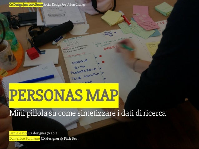 Daniele Iori UX designer @ Lola Domenico Polimeno UX designer @ Fifth Beat Co-Design Jam 2015 Rome Social Design For Urban...