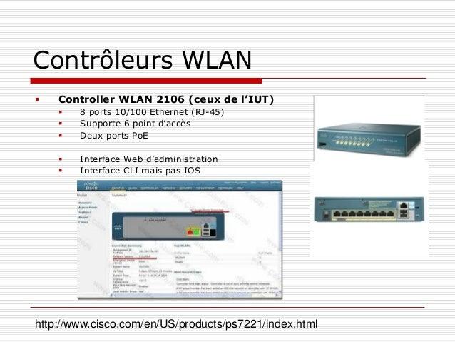 Contrôleurs WLAN  Controller WLAN 2106 (ceux de l'IUT)  8 ports 10/100 Ethernet (RJ-45)  Supporte 6 point d'accès  Deu...