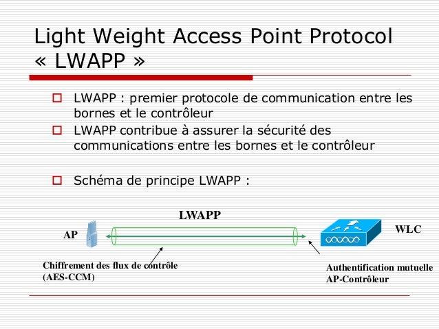Light Weight Access Point Protocol « LWAPP »  LWAPP : premier protocole de communication entre les bornes et le contrôleu...