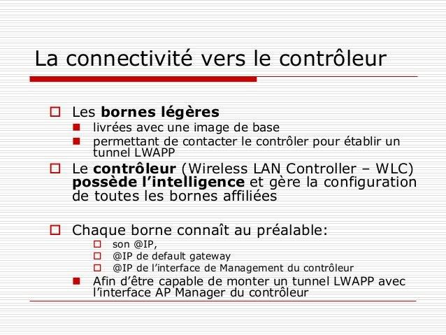 La connectivité vers le contrôleur  Les bornes légères  livrées avec une image de base  permettant de contacter le cont...