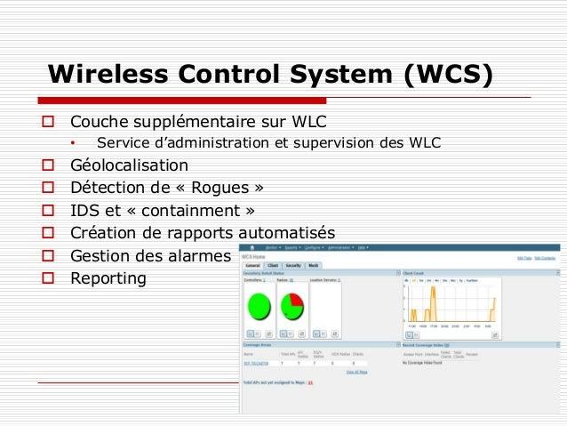 Wireless Control System (WCS)  Couche supplémentaire sur WLC • Service d'administration et supervision des WLC  Géolocal...