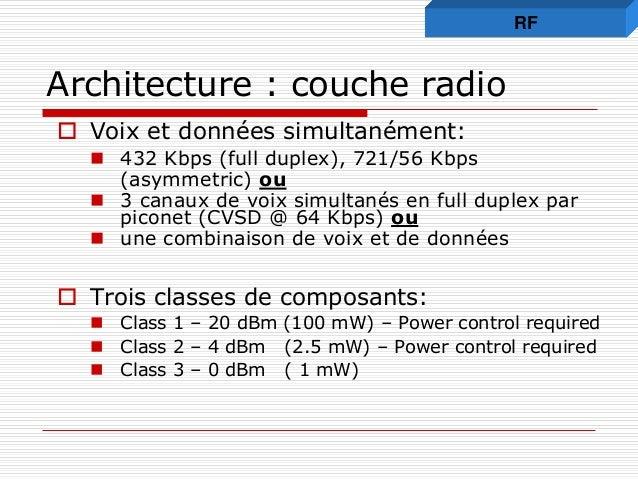 Architecture : couche radio  Voix et données simultanément:  432 Kbps (full duplex), 721/56 Kbps (asymmetric) ou  3 can...
