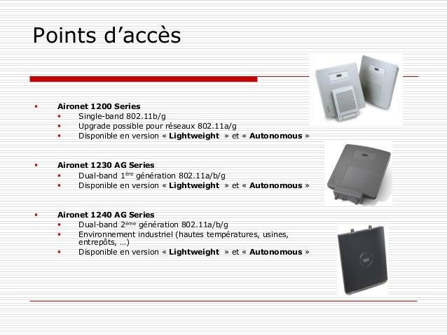 Points d'accès  Aironet 1200 Series  Single-band 802.11b/g  Upgrade possible pour réseaux 802.11a/g  Disponible en ver...