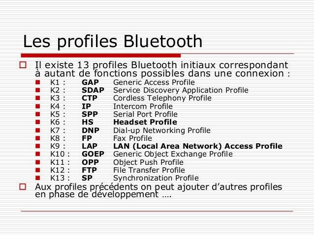 Les profiles Bluetooth  Il existe 13 profiles Bluetooth initiaux correspondant à autant de fonctions possibles dans une c...