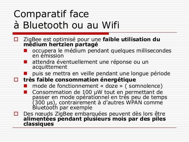 Comparatif face à Bluetooth ou au Wifi  ZigBee est optimisé pour une faible utilisation du médium hertzien partagé  occu...