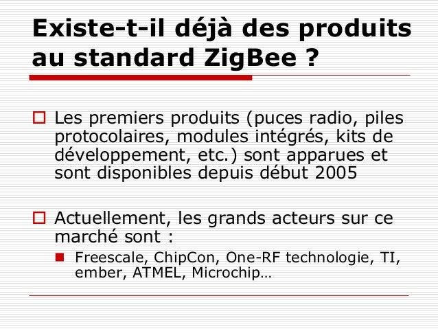 Existe-t-il déjà des produits au standard ZigBee ?  Les premiers produits (puces radio, piles protocolaires, modules inté...