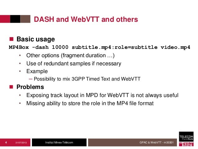Report on the implementation of WebVTT in MP4 in GPAC