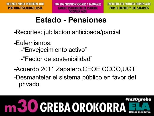"""Estado - Pensiones-Recortes: jubilacíon anticipada/parcial-Eufemismos:-""""Envejecimiento activo""""-""""Factor de sostenibilidad""""-..."""