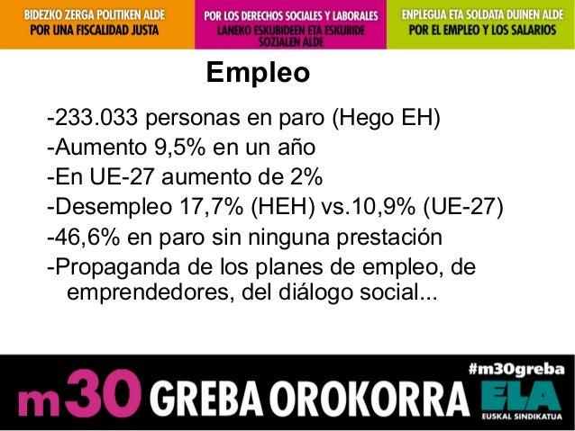 Empleo-233.033 personas en paro (Hego EH)-Aumento 9,5% en un año-En UE-27 aumento de 2%-Desempleo 17,7% (HEH) vs.10,9% (UE...