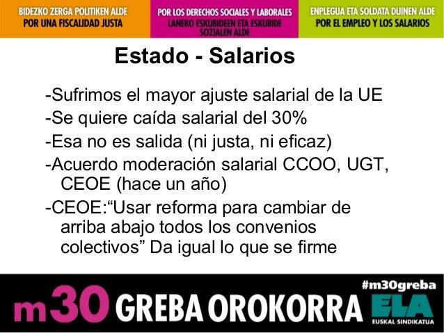 Estado - Salarios-Sufrimos el mayor ajuste salarial de la UE-Se quiere caída salarial del 30%-Esa no es salida (ni justa, ...