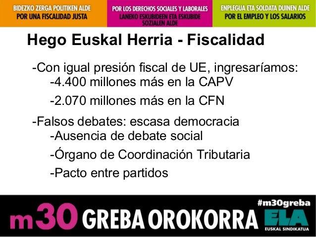 Hego Euskal Herria - Fiscalidad-Con igual presión fiscal de UE, ingresaríamos:-4.400 millones más en la CAPV-2.070 millone...