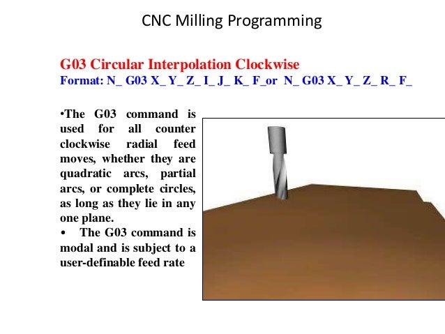 G03 Circular Interpolation Clockwise Format: N_ G03 X_ Y_ Z_ I_ J_ K_ F_or N_ G03 X_ Y_ Z_ R_ F_ •The G03 command is used ...